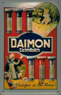 Blechschild Daimon Batterien Taschenlampe Schild retro Werbeschild Nostalgies...