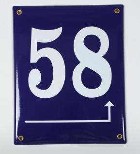 58 Pfeil rechts hoch dunkelblau 25x20 cm sofort lieferbar Schild Emaille Haus...