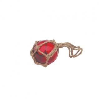 Fischerkugel rot ca. 5 cm im Tauwerk Netz Glaskugel Glas maritim Kugel