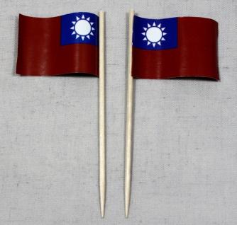 Party-Picker Flagge Taiwan Papierfähnchen in Spitzenqualität 50 Stück Beutel