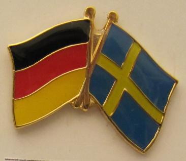 Schweden / Deutschland Freundschafts Pin Anstecker Flagge Fahne Nationalflagge