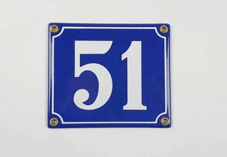 51 dunkelblau / weiß Clarendon 14x12 cm sofort lieferbar Schild Emaille Hausn...