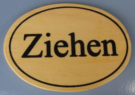 Ovales Holz - Türschild Ziehen 7x10 cm helles Holzschild