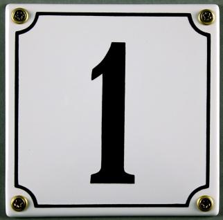 Hausnummernschild 1 weiß 12x12 cm sofort lieferbar Schild Emaille Hausnummer ...