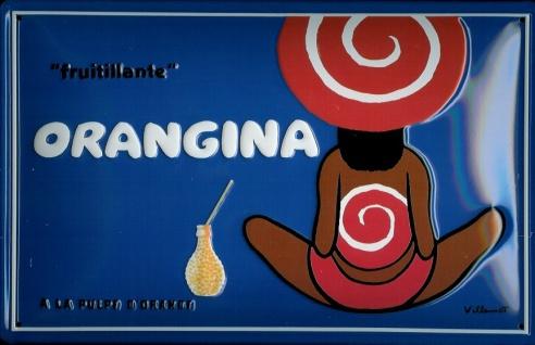 Blechschild Orangina Orangensaft Fruitilante retro Werbeschild vintage Schild...
