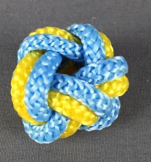 Makrameeknoten hellblau / gelb für Halstuch