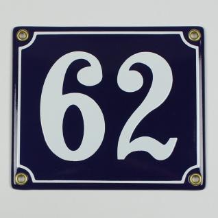 62 blau Clarendon 14x12 cm sofort lieferbar Schild Emaille Hausnummer
