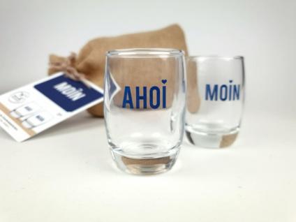 Ahoi und Moin Shotgläser 2er Set im Geschenksäckchen Stamper Schnapsglas Shot...