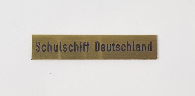 Gravur Messingschild mit eigenem Text für Buddelschiffe