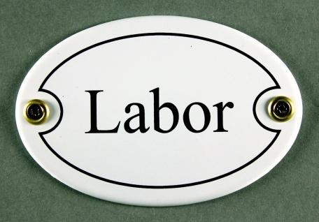 Emaille Türschild Labor weiss oval Schild