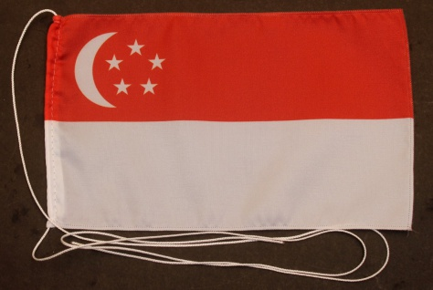 Tischflagge Singapur 25x15 cm optional mit Holz- oder Chromständer Tischfahne...