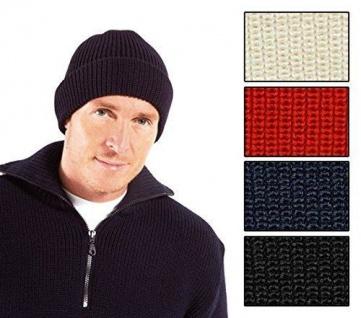 Rollmütze 100% Schurwolle in dunkelblau, wollweiß, rot oder schwarz von Modas...