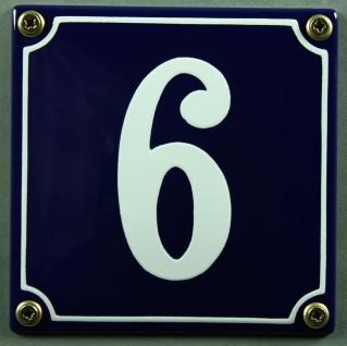 Hausnummernschild 6 blau - weiß 12x12 cm sofort lieferbar Schild Emaille Haus...