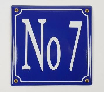 No 7 blau / weiß 20x20 cm sofort lieferbar Schild Emaille Hausnummer