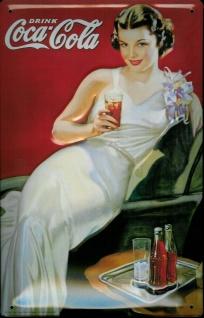 Blechschild Coca Cola Lady Frau weisses Kleid retro Schild Werbeschild