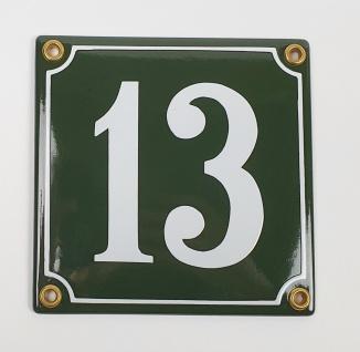 13 grün / weiß Clarendon 12x12 cm sofort lieferbar Schild Emaille Hausnummer