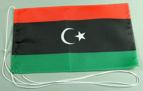 Tischflagge Libyen 25x15 cm optional mit Holz- oder Chromständer Tischfahne T...