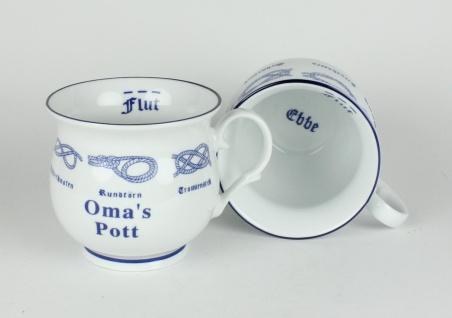 Oma´s Pott mit Seemannsknoten bauchig Kaffeebecher Kaffeetasse Kaffee Pott