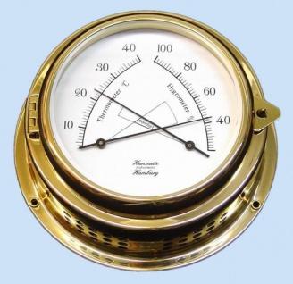 Thermometer / Hygrometer Kombination 150 mm Messing 70mm Tiefe - Vorschau