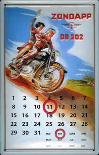 Blechschild Zündapp Moped Sozius Motorrad Magnet Kalender Schild Dauerkalender