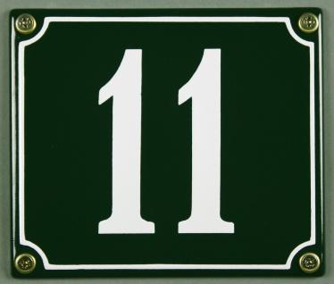 Hausnummernschild 11 grün 12x14 cm sofort lieferbar Schild Emaille Hausnummer...