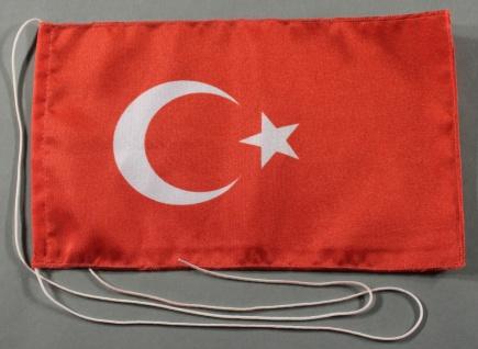 Tischflagge Türkei 25x15 cm optional mit Holz- oder Chromständer Tischfahne T...
