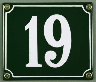 Hausnummernschild 19 grün 12x14 cm sofort lieferbar Schild Emaille Hausnummer...
