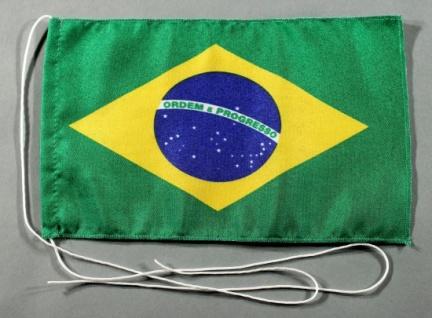 Tischflagge Brasilien 25x15 cm optional mit Holz- oder Chromständer Tischfahn...