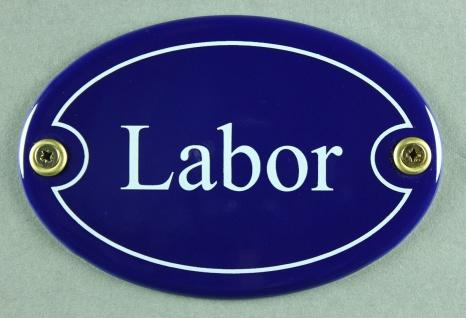 Emaille Türschild Labor blau oval Schild Emailleschild Metallschild Blechschild