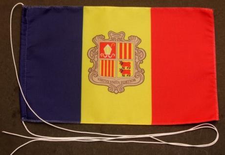 Tischflagge Andorra 25x15 cm optional mit Holz- oder Chromständer Tischfahne ...