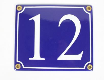 12 blau Serif 14x12 cm sofort lieferbar Schild Emaille Hausnummer