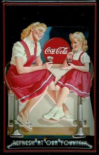 Blechschild Coca Cola Refresh at our Fountain Frau mit Kind Schild Coke retro...