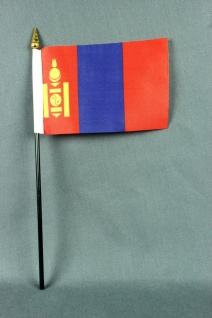 Kleine Tischflagge Mongolei 10x15 cm optional mit Tischfähnchenständer