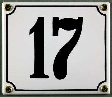 Hausnummernschild 17 weiß 12x14 cm sofort lieferbar Schild Emaille Hausnummer...