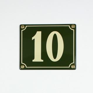 10 grün / cream Clarendon 14x12 cm sofort lieferbar 2-stellig Schild Emaille ...