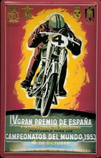 Blechschild Motorrad iV Gran Premio de Espana 1953 Nostalgieschild Spanien