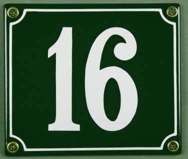 Hausnummernschild 16 grün 12x14 cm sofort lieferbar Schild Emaille Hausnummer...