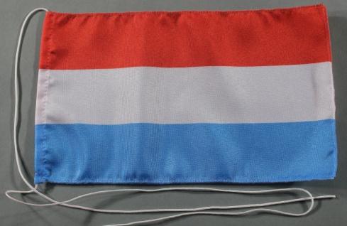 Tischflagge Luxemburg 25x15 cm optional mit Holz- oder Chromständer Tischfahn...