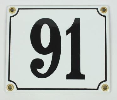 91 weiß Clarendon 12x14 cm sofort lieferbar Schild Emaille Hausnummer