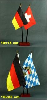 Tischflaggenständer - Sockel 2-fach Holz Mahagoni - farben für BASIC 10x15cm ...