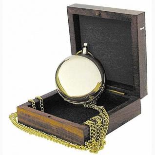 Kompass in Taschenuhrform mit Kette Messing Ø: 5cm in der Holzbox