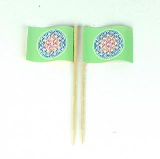 Party-Picker Flagge Blume des Lebens grün Papierfähnchen in Spitzenqualität 5...