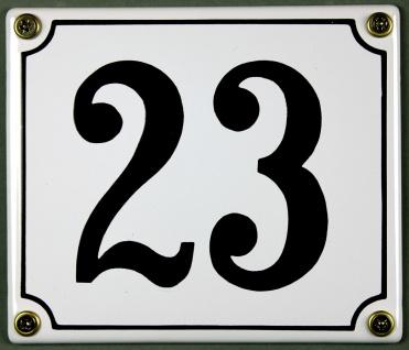 Hausnummernschild 23 weiß 12x14 cm sofort lieferbar Schild Emaille Hausnummer...