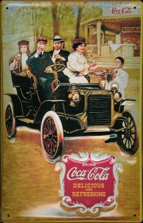 Blechschild Coca Cola Oldtimer Auto Familie nostalgisches Werbeschild Reklame...