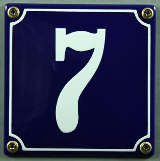 Hausnummernschild 7 blau - weiß 12x12 cm sofort lieferbar Schild Emaille Haus...