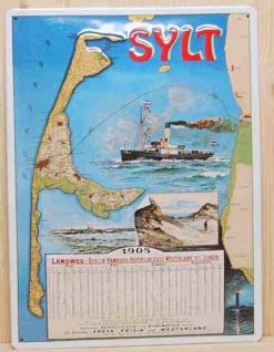 Blechschild Sylt Fahrplan von 1905 Dampfer Schiff Schild Nostalgieschild
