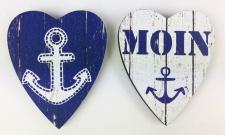 Herz Magnete Holz 2 Stück Anker + Moin blau Herzmagnet Holzmagnet Magnetset