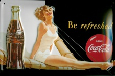 Blechschild Coca Cola be refreshed Segelboot Frau retro Schild Werbeschild