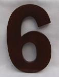 "Hausnummer Ziffer "" 6"" aus lackiertem Natur - Holz, ca. 16 cm"