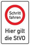 Aluminium Parkplatzschild Schritt fahren StVo 900x600 mm glatte Oberfläche 2 ...